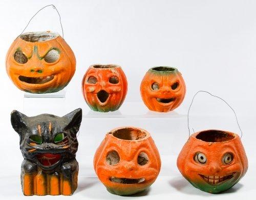 Paper Mache Halloween Jack o Lantern and Cat Assortment