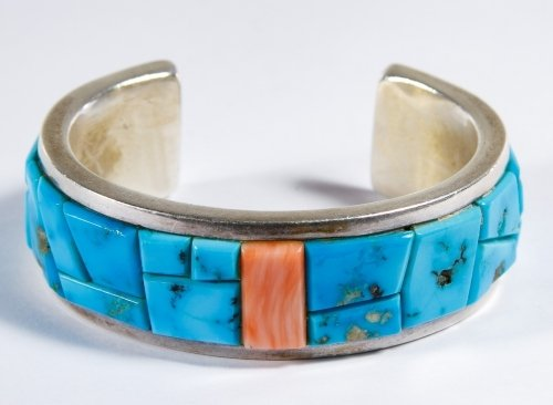 Native American Sterling Silver and Turquoise Cuff