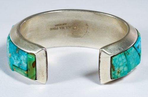 Native American Sterling Silver and Turquoise Cuff - 3