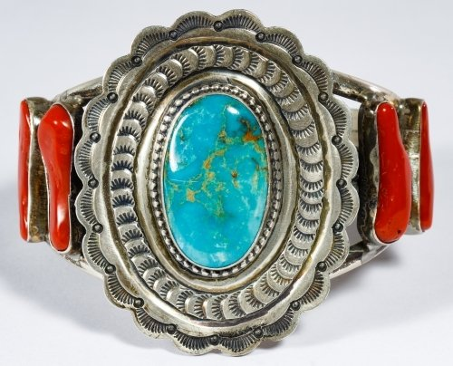 Native American Sterling Silver, Coral and Turquoise