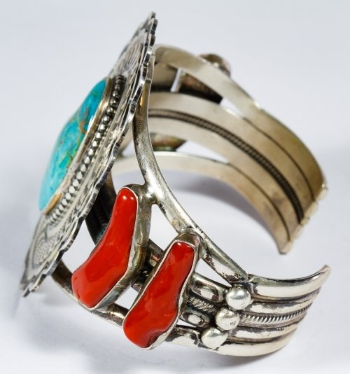 Native American Sterling Silver, Coral and Turquoise - 2