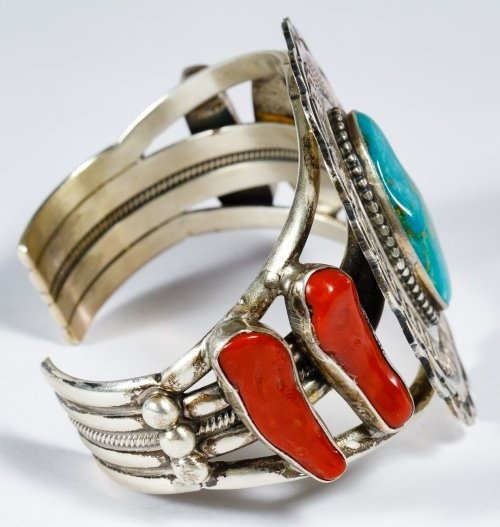 Native American Sterling Silver, Coral and Turquoise - 4