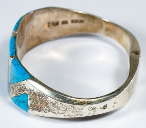 Native American Sterling Silver and Turquoise Cuff - 2