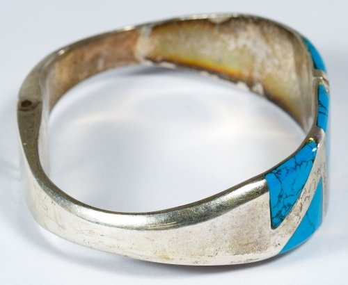 Native American Sterling Silver and Turquoise Cuff - 4