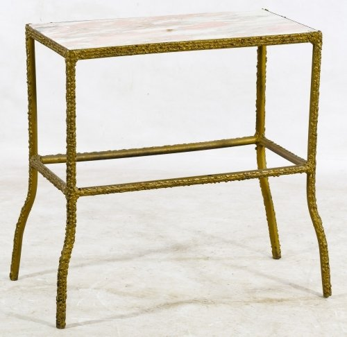 Marble and Cast Iron End Table