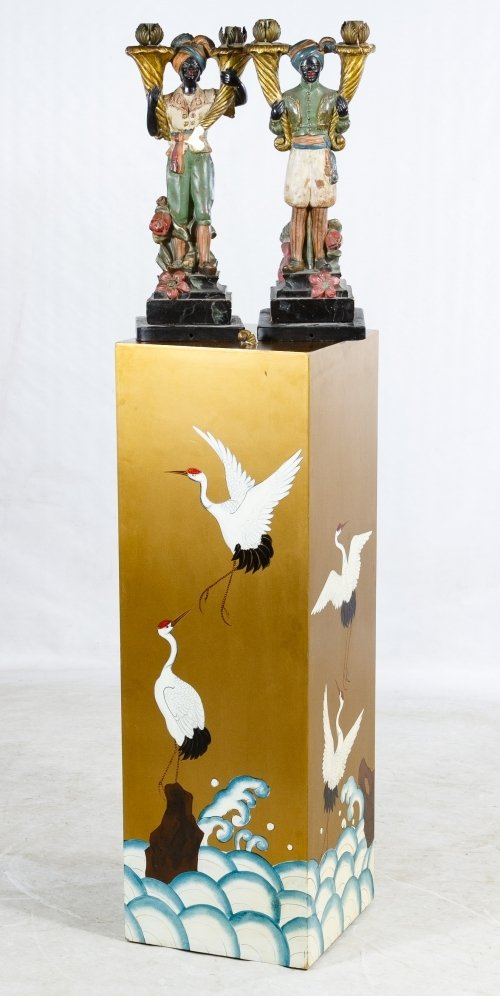 Asian Painted Wood Pedestal