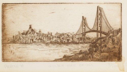 Partee (20th Century) 'Golden Gate Bridge' Etching - 2