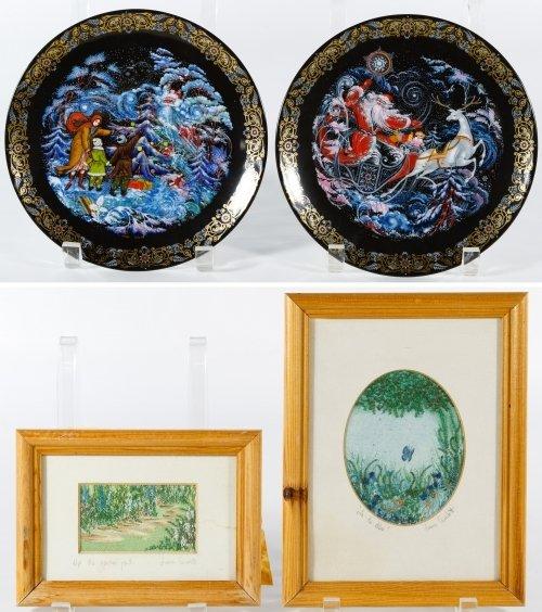 Bradex Christmas Plates and Embroidered Artwork