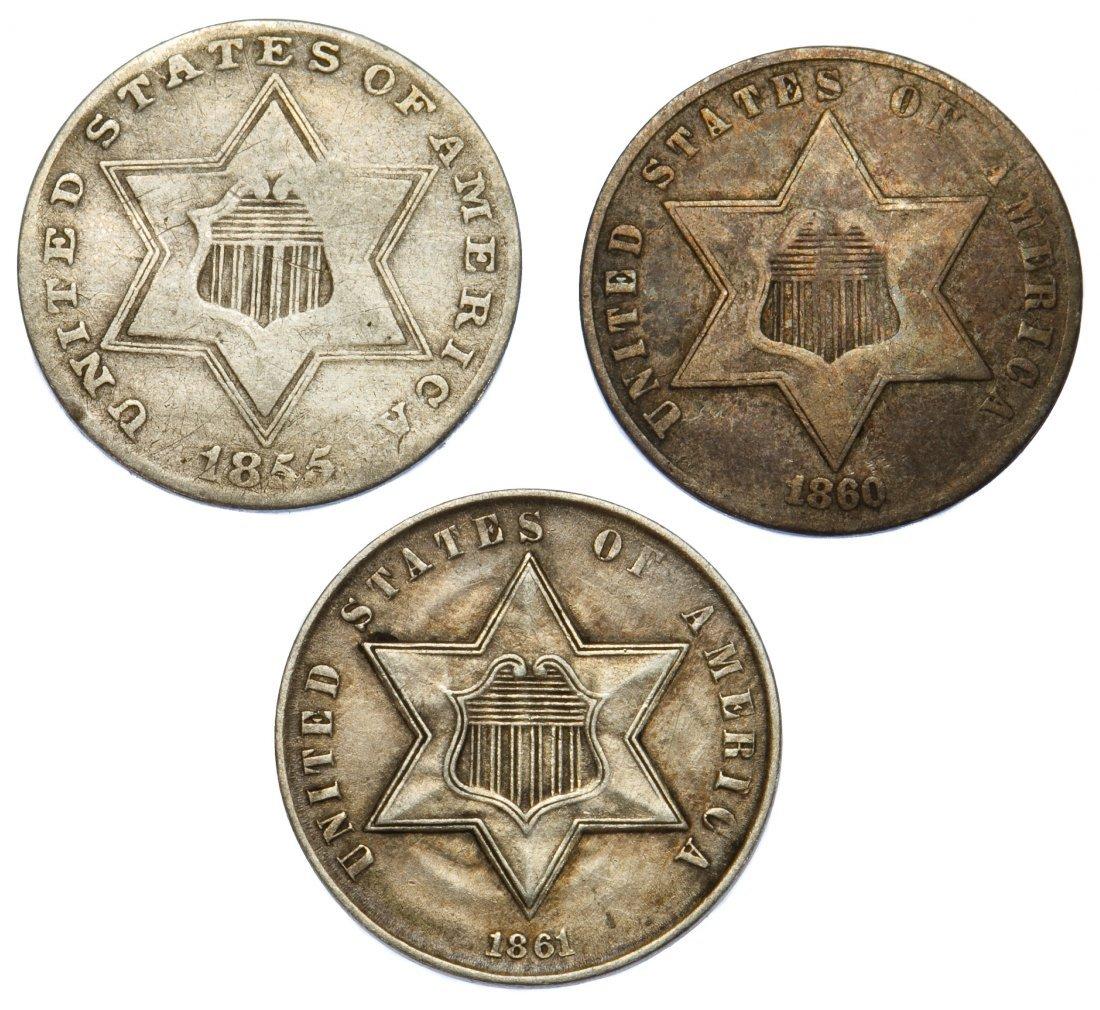 1855, 1860, 1861 3c Silver G-VF