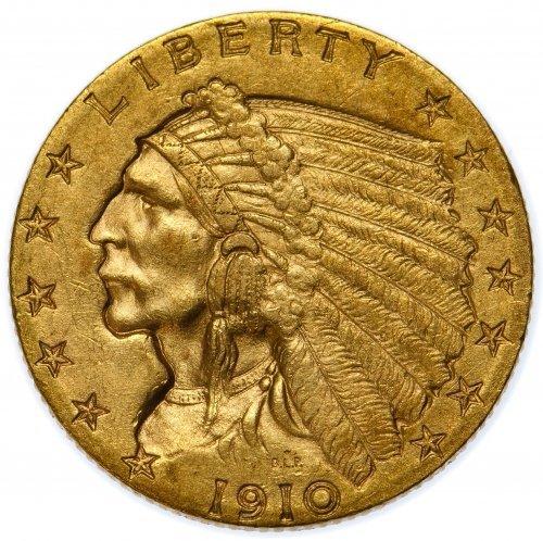 1910 $2 1/2 Gold XF