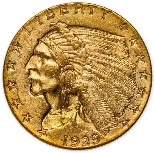 1929 $2 1/2 Gold AU