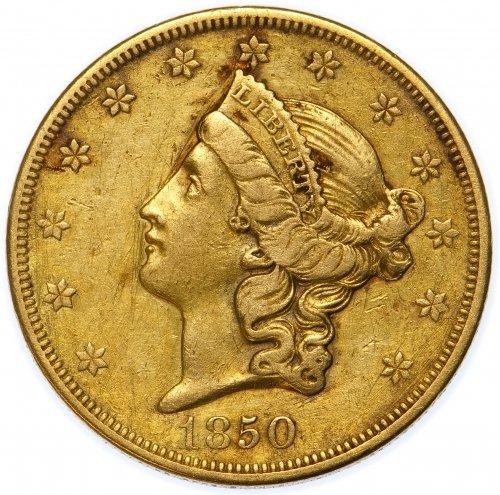 1850-O $20 Gold VF