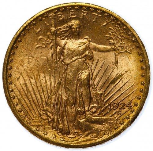 1924 $20 Gold Unc. Details