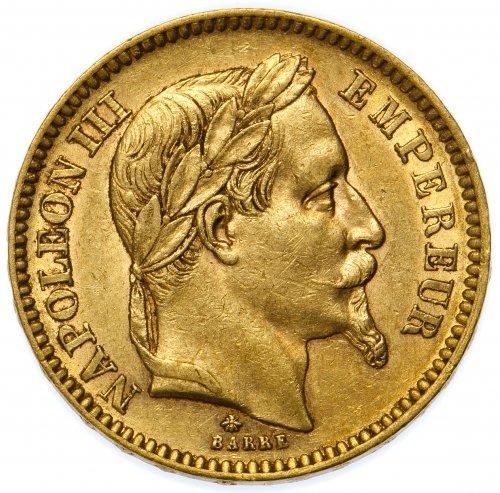France: 1862 20 Francs Gold AU