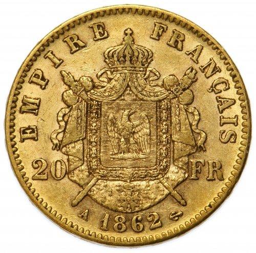 France: 1862 20 Francs Gold AU - 2