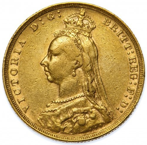 Great Britain: 1890 Gold Sovereign VF