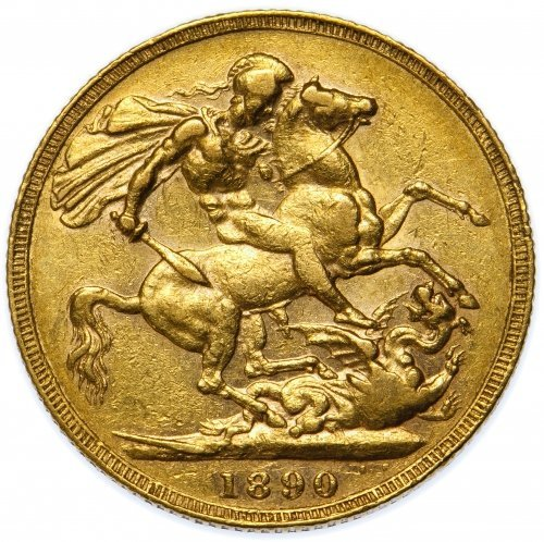 Great Britain: 1890 Gold Sovereign VF - 2