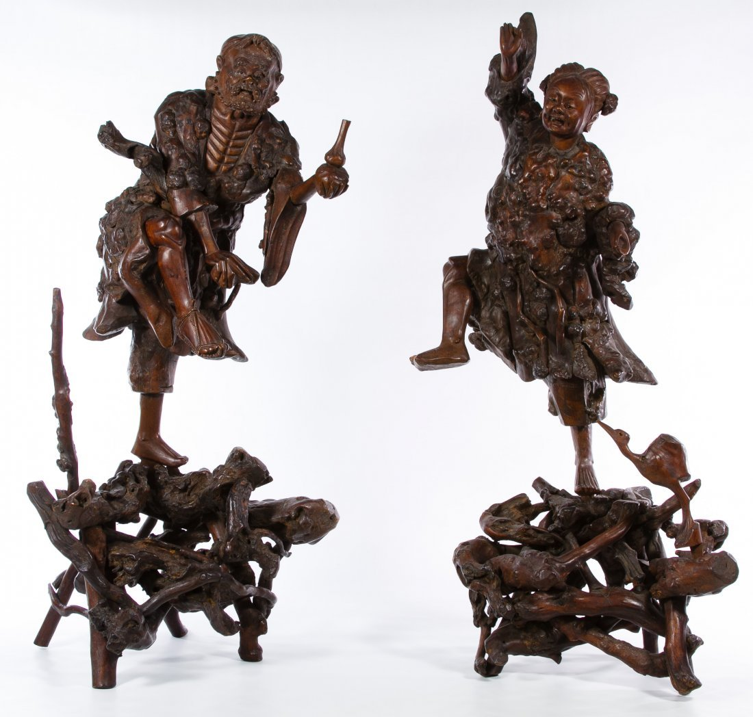 Asian Carved Aloeswood Deity Figures