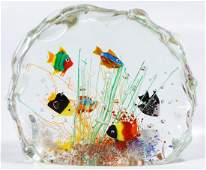 Murano Aquarium Fish Block Art Glass Paperweight