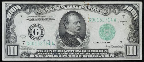 1934-A $1000 Federal Reserve Note VF Details