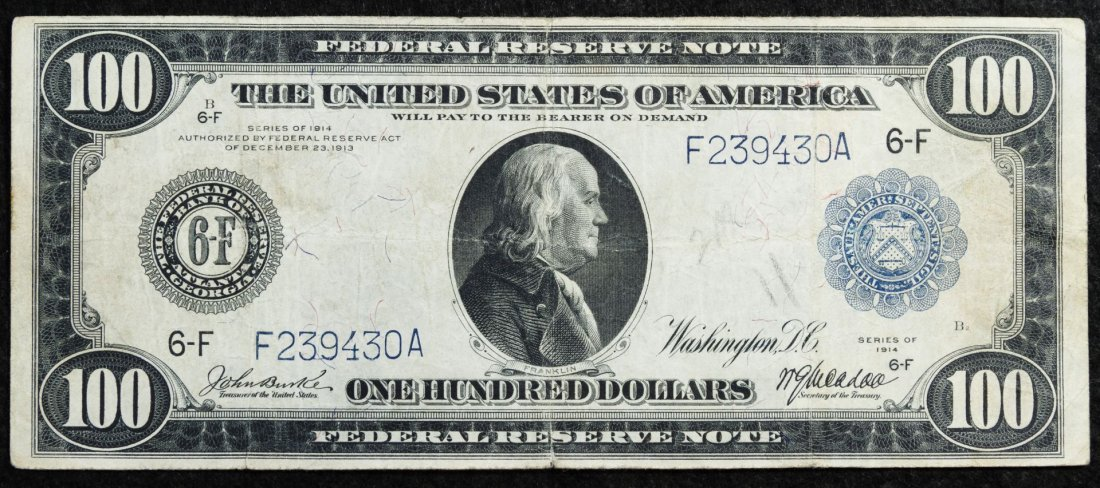 1914 $100 Federal Reserve Note VF