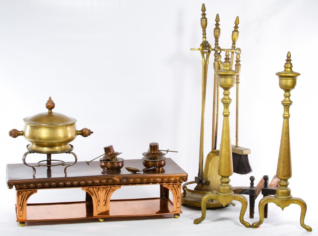 Brass and Copper Fireplace Equipment Assortment