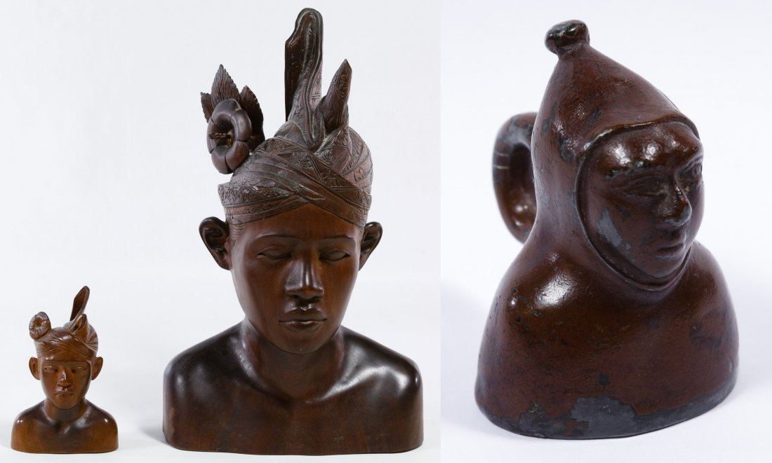 Carved Wood Indonesian Busts