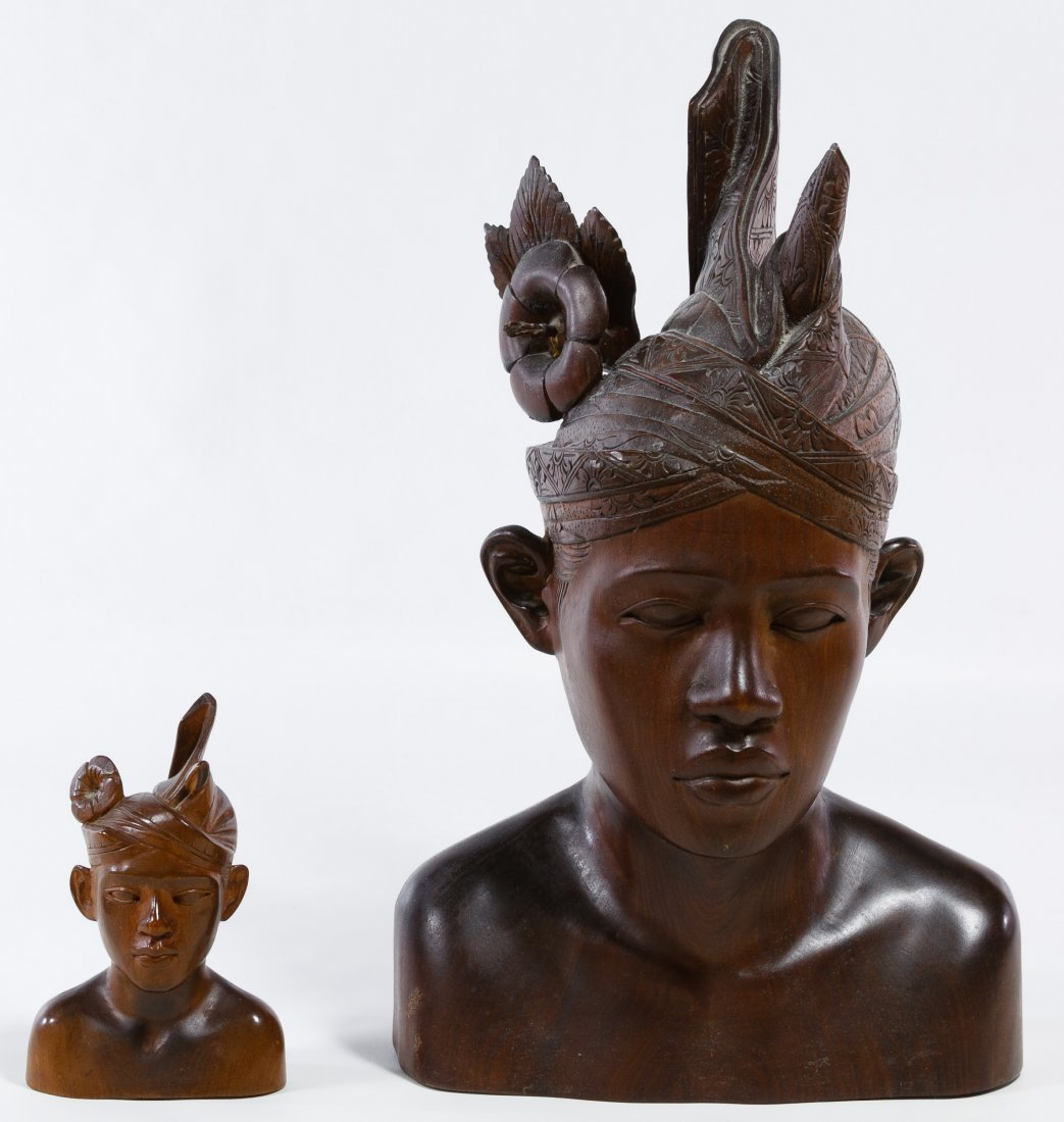 Carved Wood Indonesian Busts - 2
