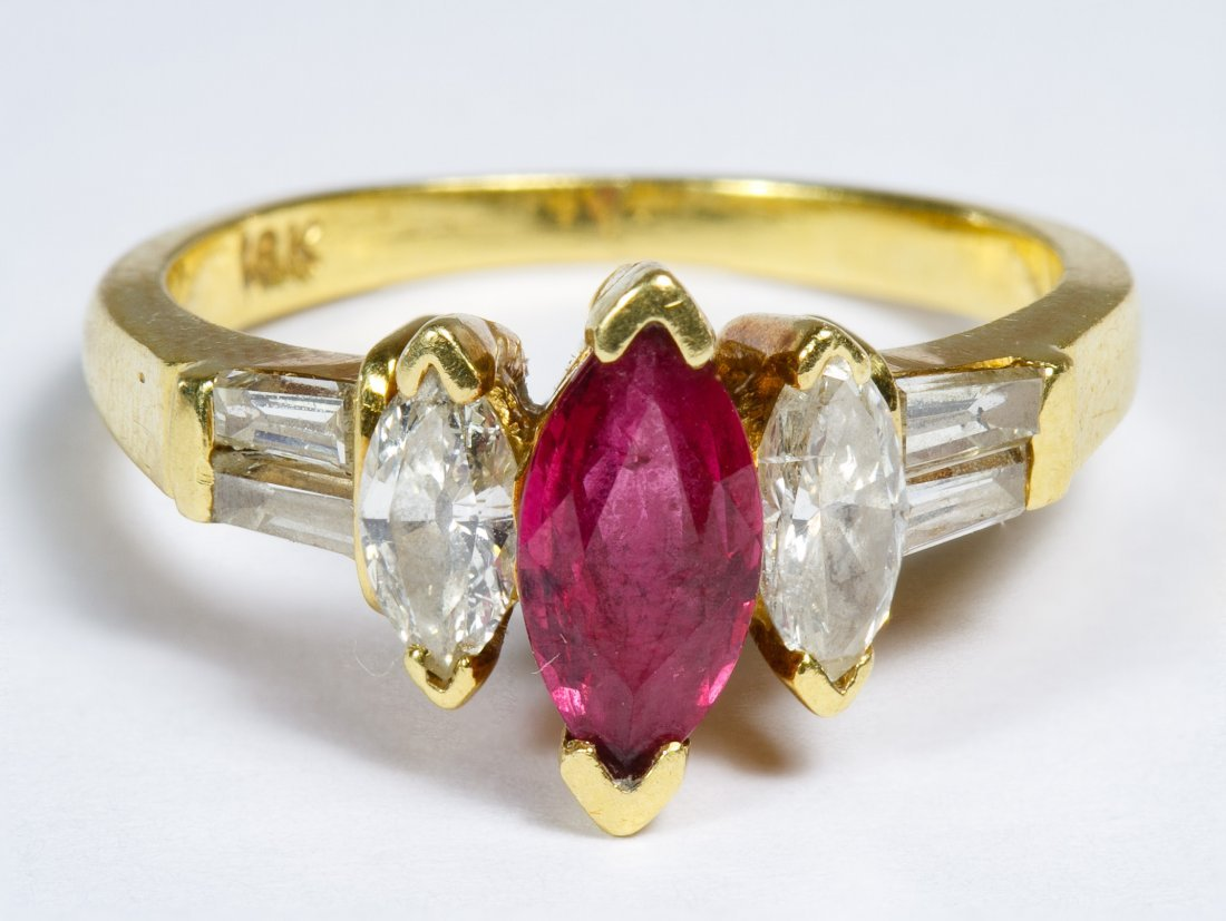 18k Gold, Ruby and Diamond Ring
