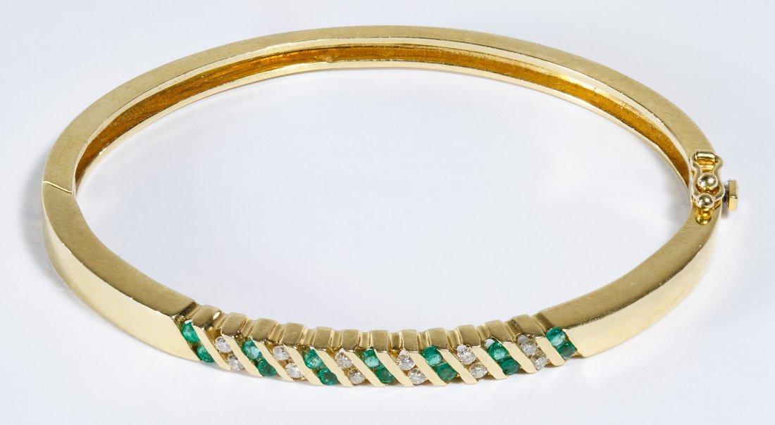 14k Gold, Emerald and Diamond Bangle Bracelet