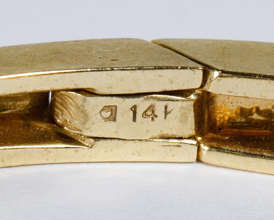 14k Gold, Emerald and Diamond Bangle Bracelet - 2