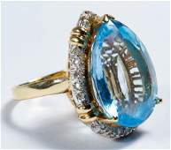 14k Gold, Blue Topaz and Diamond Ring