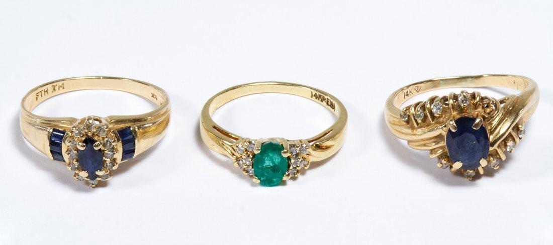 14k Gold, Semi-precious Gemstone and Diamond Rings
