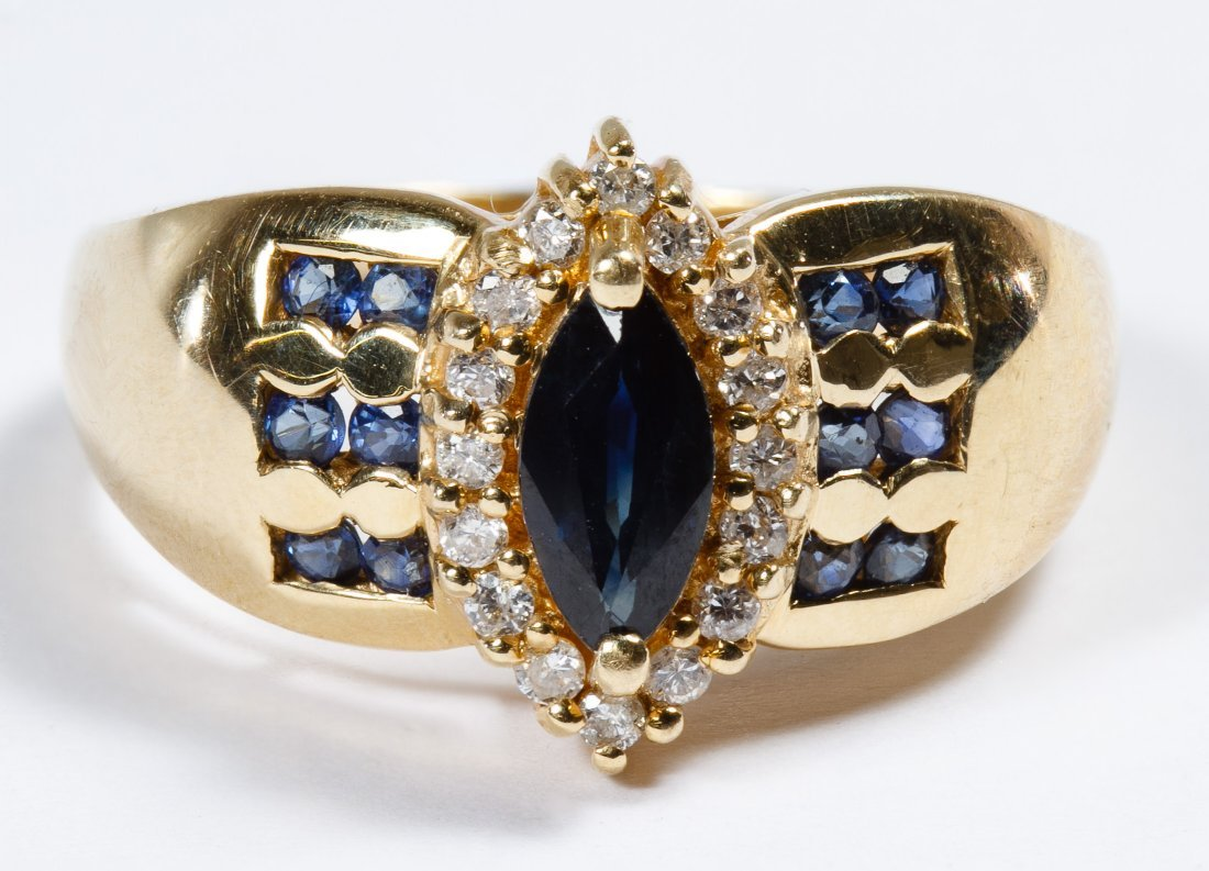 14k Gold, Spinel, Sapphire and Diamond Ring
