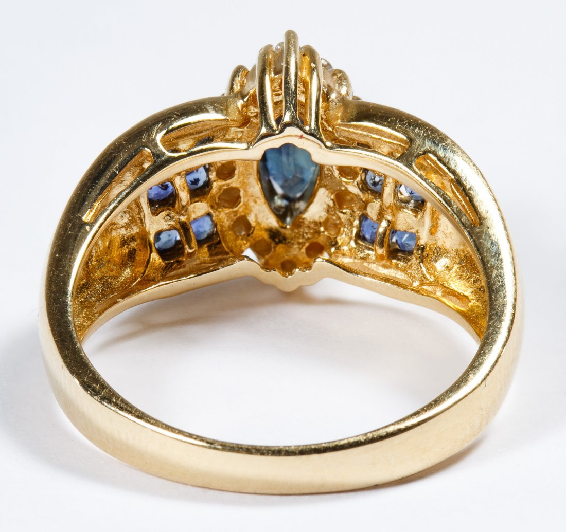 14k Gold, Spinel, Sapphire and Diamond Ring - 3