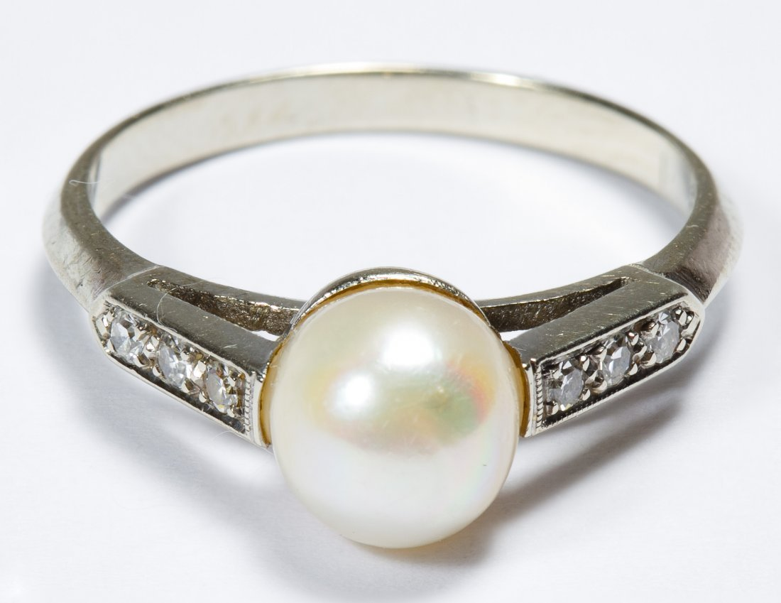 14k White Gold, Pearl and Diamond Ring