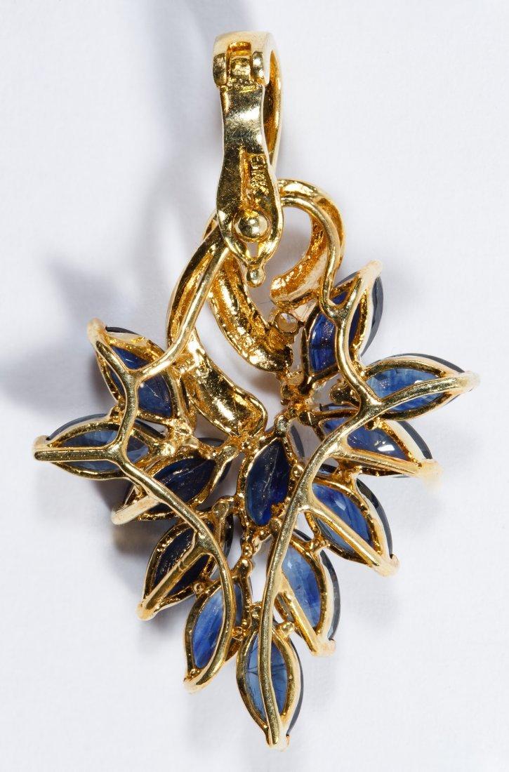 14k Gold, Sapphire and Diamond Pendant - 2
