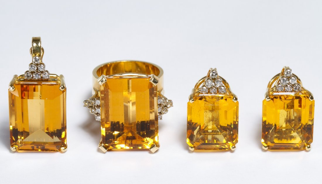 14k Gold, Citrine and Diamond Jewelry Suite