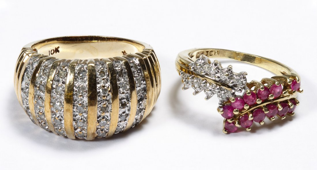 10k Gold, Ruby and Diamond Rings