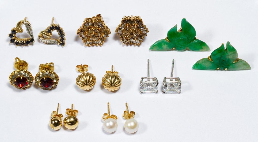 14k and 10k Gold Pierced Earring Assortment