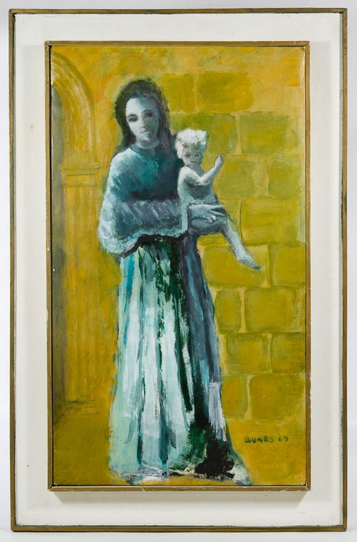 Gaines (American, 20th Century) 'Mother and Child' Oil
