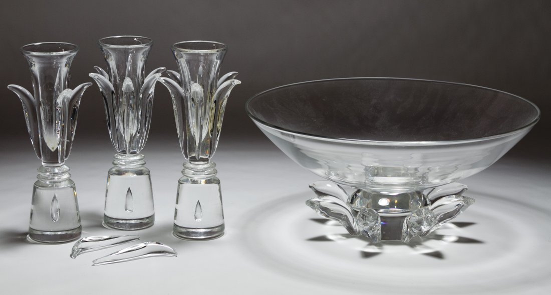 Steuben 'Peony' Bowl and Glass Assortment