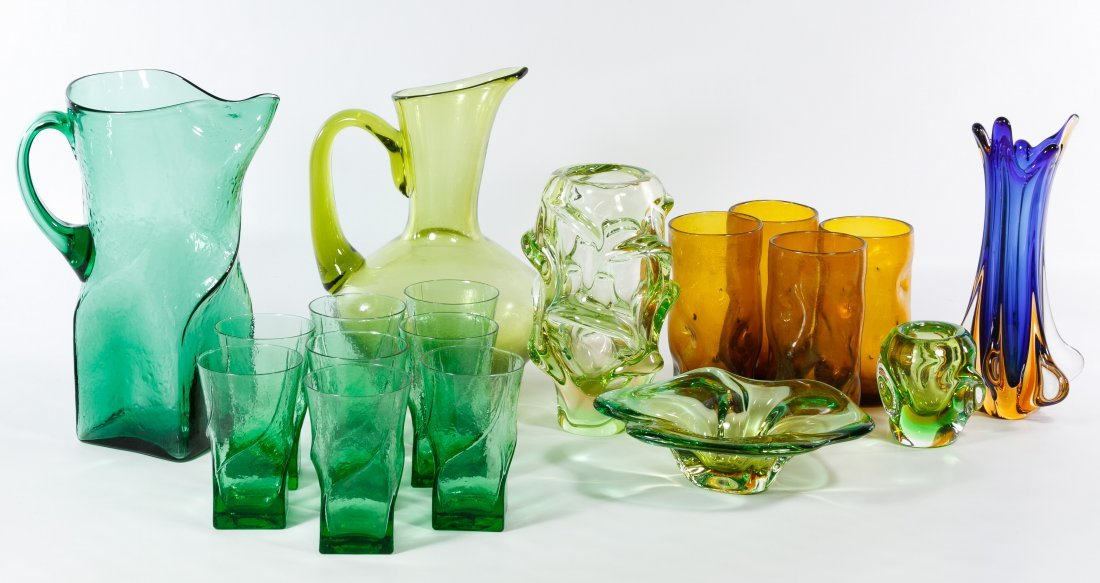 Mid-Century Modern Green and Brown Glass Assortment
