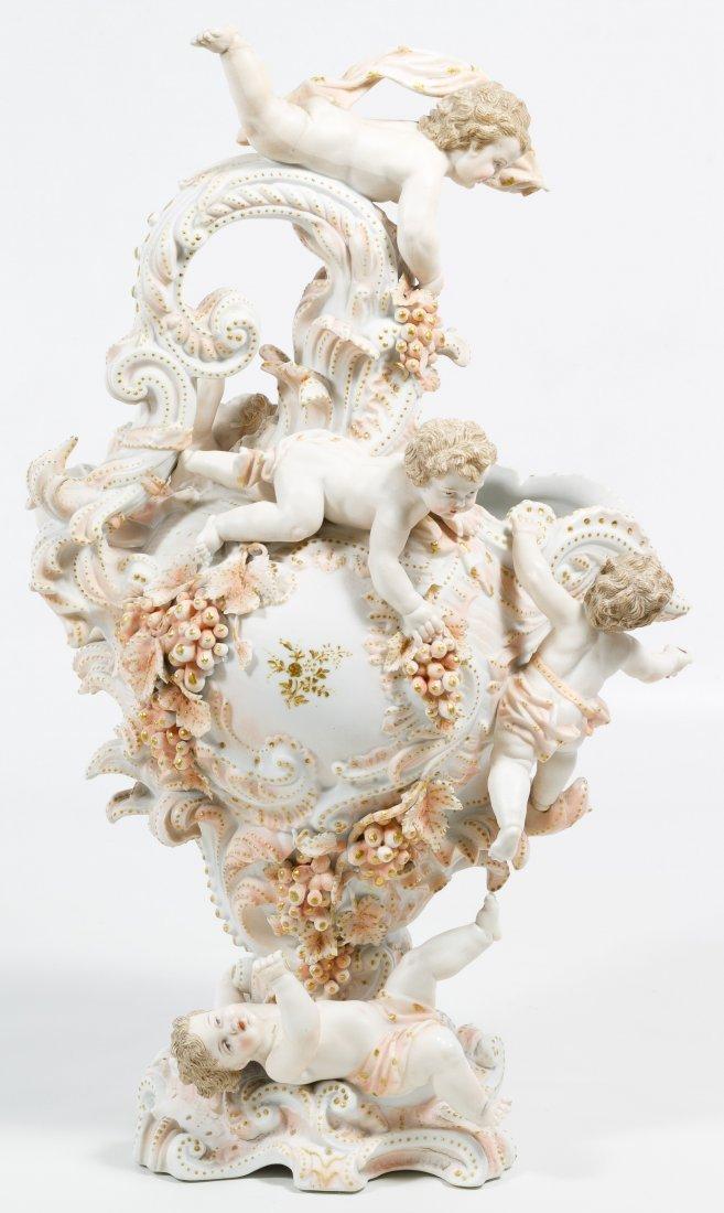 Karl Voldstedt Porcelain Ewer with Putti Decoration