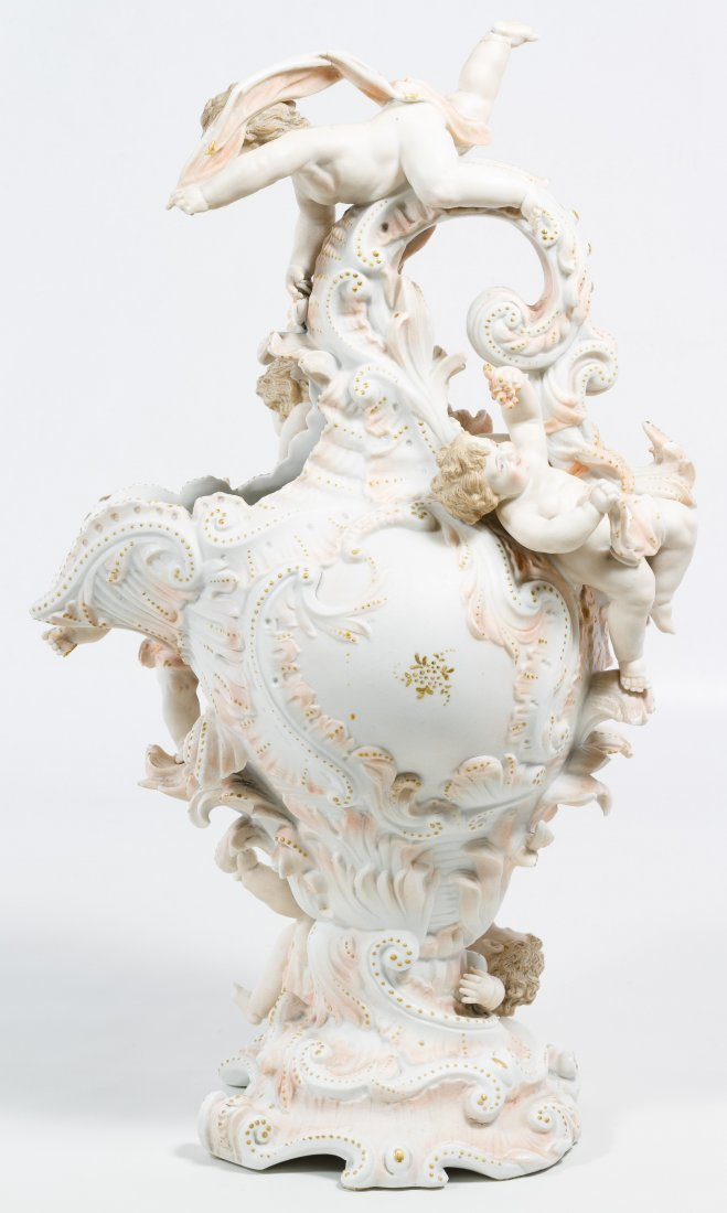 Karl Voldstedt Porcelain Ewer with Putti Decoration - 3