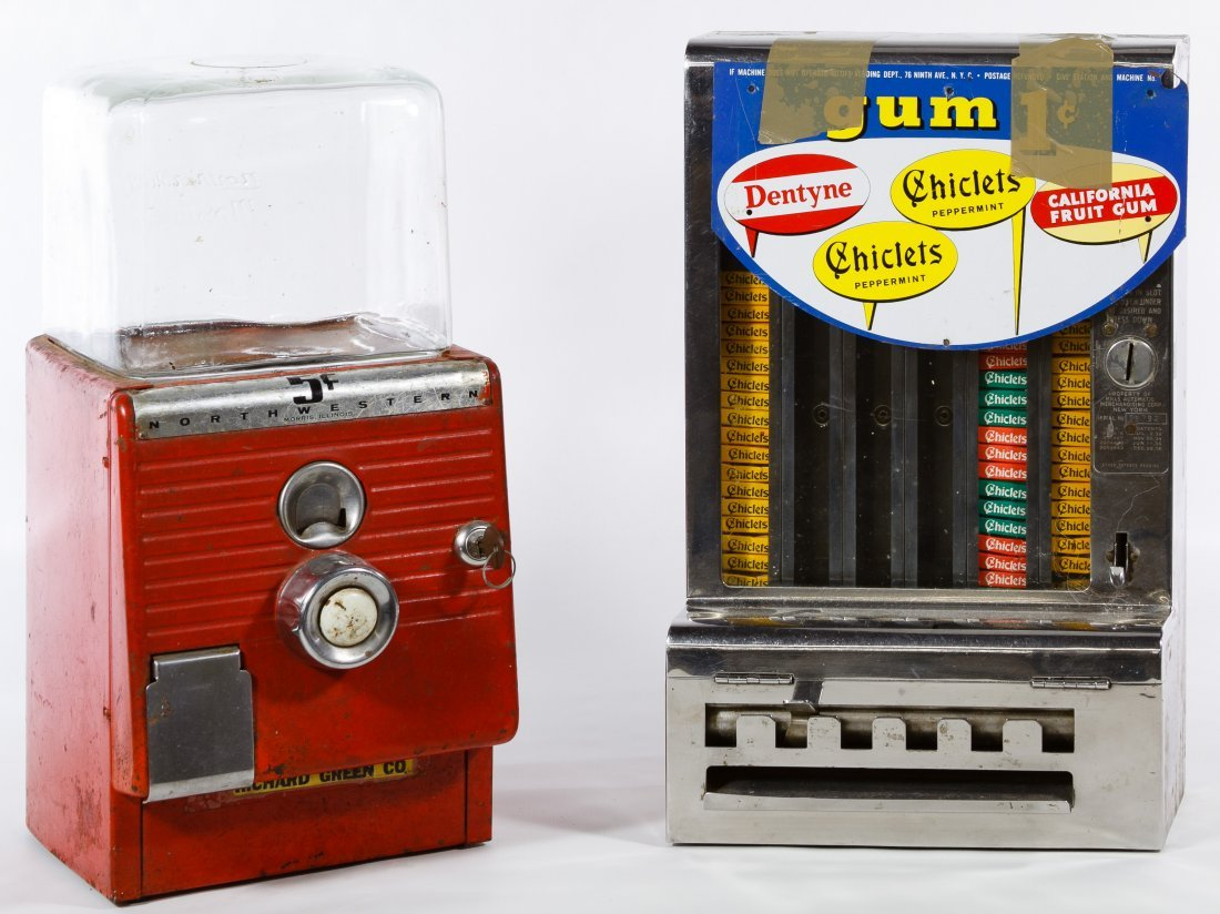Mills Chrome 1c Chicklet Gum Coin-Op Machine