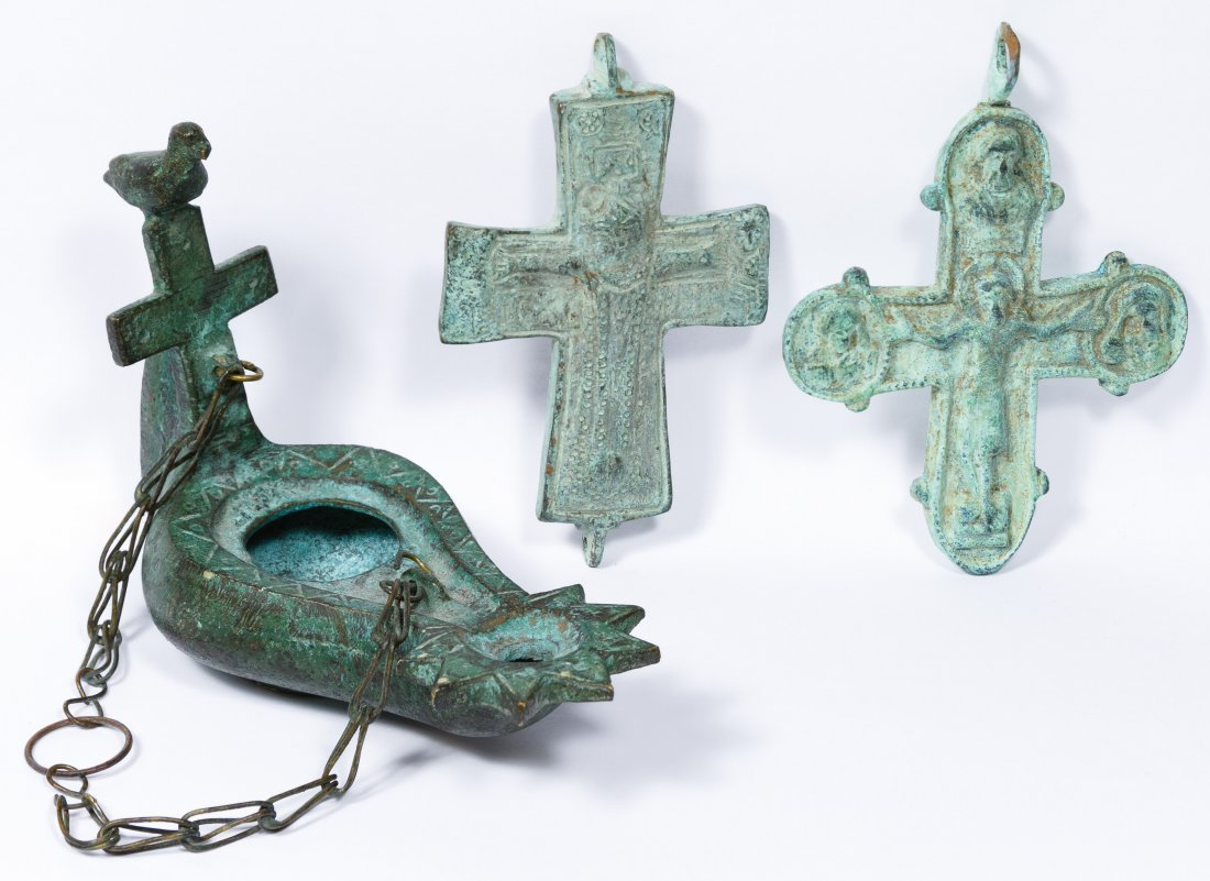 Byzantine Bronze Crosses and Oil Lamp