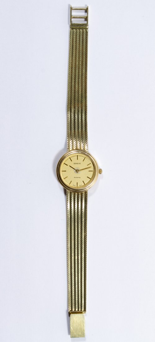 Geneve 14k Gold Case and Band Wrist Watch