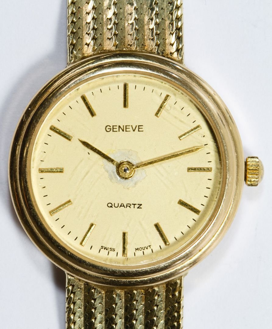 Geneve 14k Gold Case and Band Wrist Watch - 2