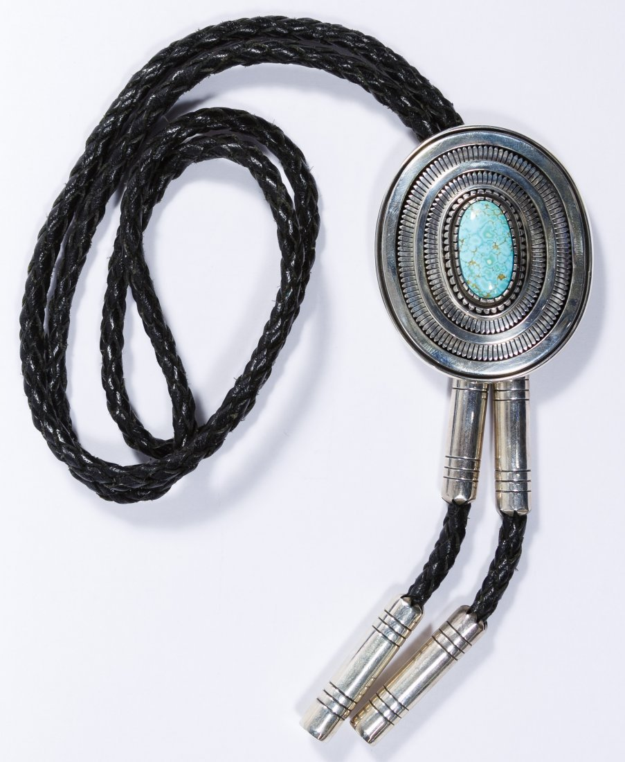 Native American Sterling Silver and Turquoise Bolo Tie